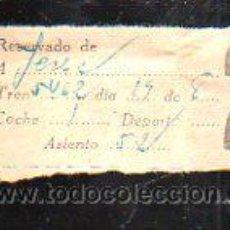 Coleccionismo Billetes de transporte: BILLETE DE TREN. RESERVADO A JEREZ. 2º CLASE.. Lote 43763160