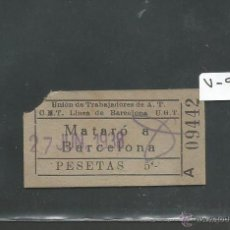 Coleccionismo Billetes de transporte: BILLETE GUERRA CIVIL AÑO 1938 - CNT UGT - MATARO BARCELONA - (V-916). Lote 44039584
