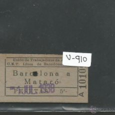 Coleccionismo Billetes de transporte: BILLETE GUERRA CIVIL AÑO 1938 - CNT UGT - BARCELONA MATARO- (V-917). Lote 44039604