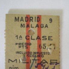 Coleccionismo Billetes de transporte: 1947. ANTIGUO BILLETE DE TREN MADRID MALAGA 1ª CLASE MILITAR. SELLO DE 1 PTA DE JOSE ANTONIO. FISCAL. Lote 44190848