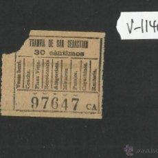 Coleccionismo Billetes de transporte: BILLETE TRANVIA SAN SEBASTIAN - MUY ANTIGUO - (V-1140). Lote 44389982