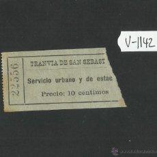 Coleccionismo Billetes de transporte: BILLETE TRANVIA SAN SEBASTIAN - MUY ANTIGUO - (V-1142). Lote 44390056