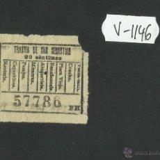 Coleccionismo Billetes de transporte: BILLETE TRANVIA SAN SEBASTIAN - MUY ANTIGUO - (V-1146). Lote 44390115