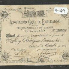 Coleccionismo Billetes de transporte: EMPLEADOS DE LOS FERROCARRILES DE ESPAÑA-22 DE ENERO DE 1888-BILLETE TITULO-MIDE10X14 CM.-(V-1164). Lote 44455305