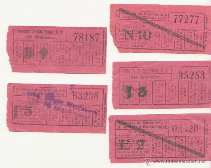 CINCO BILLETE TRANVIA DE BARCELONA 10 CTMS CAPICUA BILLETES TRANSPORTE (Coleccionismo - Billetes de Transporte)