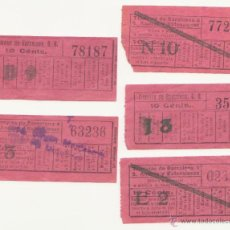 Coleccionismo Billetes de transporte: CINCO BILLETE TRANVIA DE BARCELONA 10 CTMS CAPICUA BILLETES TRANSPORTE. Lote 44815389