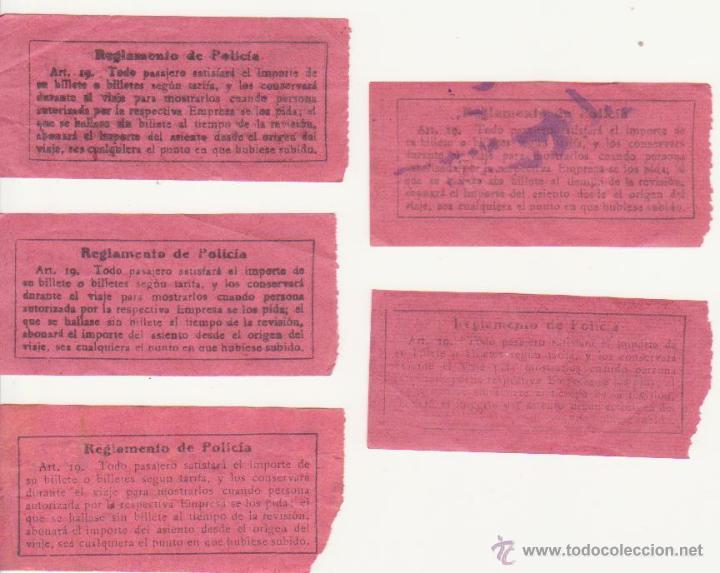 Coleccionismo Billetes de transporte: CINCO BILLETE TRANVIA DE BARCELONA 10 CTMS CAPICUA BILLETES TRANSPORTE - Foto 2 - 44815389