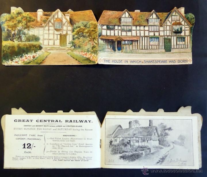 TARJETA INF. BILLETE DE TREN Y SERVICIOS DE LONDRES A STRANTFORD-ON-AVON. AÑO 1903.VER FOTOGRAFIAS (Coleccionismo - Billetes de Transporte)