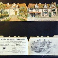 Coleccionismo Billetes de transporte: TARJETA INF. BILLETE DE TREN Y SERVICIOS DE LONDRES A STRANTFORD-ON-AVON. AÑO 1903.VER FOTOGRAFIAS. Lote 44822544