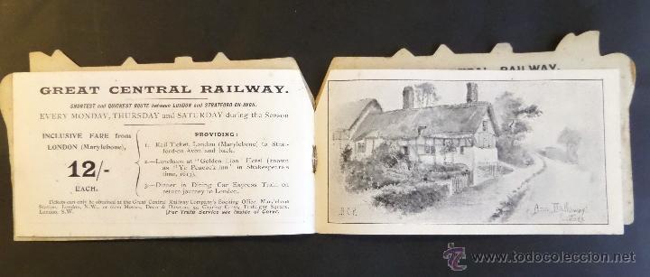 Coleccionismo Billetes de transporte: Tarjeta inf. billete de tren y servicios de Londres a Strantford-on-Avon. Año 1903.Ver fotografias - Foto 3 - 44822544
