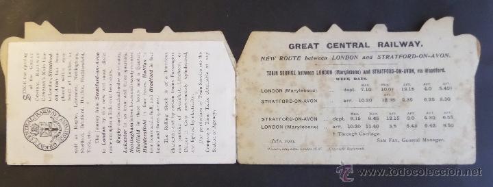Coleccionismo Billetes de transporte: Tarjeta inf. billete de tren y servicios de Londres a Strantford-on-Avon. Año 1903.Ver fotografias - Foto 4 - 44822544
