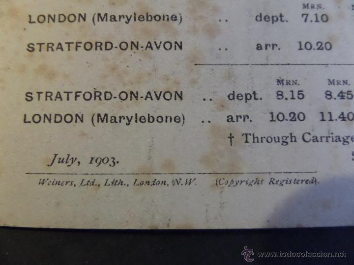 Coleccionismo Billetes de transporte: Tarjeta inf. billete de tren y servicios de Londres a Strantford-on-Avon. Año 1903.Ver fotografias - Foto 5 - 44822544
