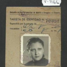 Coleccionismo Billetes de transporte: COMPAÑIA DE FERROCARRILES MADRID ZARAGOZA ALICANTE - TARJETA IDENTIDAD - (V-1166). Lote 45172806