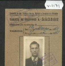 Coleccionismo Billetes de transporte: COMPAÑIA DE FERROCARRILES MADRID ZARAGOZA ALICANTE - TARJETA IDENTIDAD - (V-1171). Lote 45172975