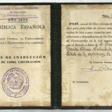 Coleccionismo Billetes de transporte: PASE INSPECCION FERROCARRILES - AÑO 1935- REPUBLICA - (V-1175). Lote 45173055