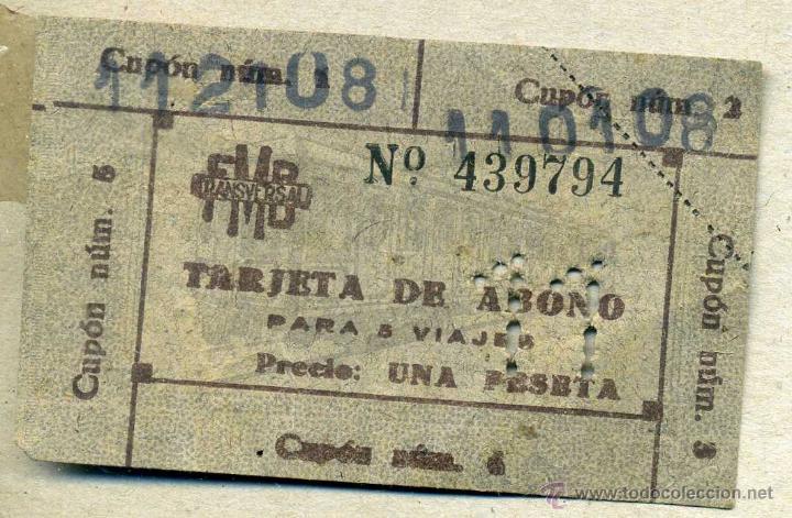 TARJETA DE ABONO PARA 5 VIAJES TMB TRANSVERSAL (Coleccionismo - Billetes de Transporte)
