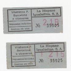 Coleccionismo Billetes de transporte: BILLETE DE TRANSPORTE - 3 BILLETES DE LA HISPANO IGUALADINA - VILAFRANCA P. BARCELONA Y VICEVERSA. Lote 45955897