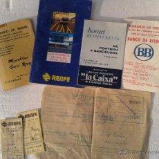 Coleccionismo Billetes de transporte: LOTE ANTIGUOS HORARIOS TRENES RENFE FACTURA Y BILLETES TRANSPORTE. Lote 41570793