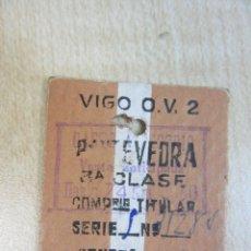 Coleccionismo Billetes de transporte: BILLETE DE TREN RENFE VIGO PONTEVEDRA 1946. Lote 46004600