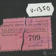 Coleccionismo Billetes de transporte: TRANVIAS DE VALENCIA - BILLETE MUY ANTIGUO - (V-1350) . Lote 46046118