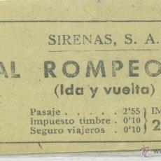 Coleccionismo Billetes de transporte: BILLETE DE VAPORES GOLONDRINAS SIRENAS , BARCELONA. Lote 46111440