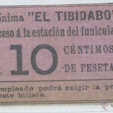 Coleccionismo Billetes de transporte: BILLETE DE TRANVIA DEL TIBIDABO, BARCELONA. Lote 46111487