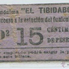 Coleccionismo Billetes de transporte: BILLETE DE TRANVIA DEL TIBIDABO, BARCELONA. Lote 46111492