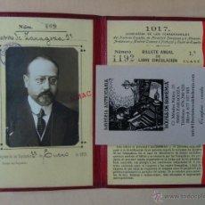 Coleccionismo Billetes de transporte: BILLETE DE LIBRE CIRCULACIÓN 1917. COMPAÑIAS FERROCARRILES. ENCUDERNADO PIEL CONGRESO DIPUTADOS. Lote 46896658