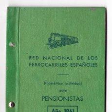 Coleccionismo Billetes de transporte: RED NACIONAL DE LOS FERROCARRILES ESPAÑOLES - KILOMETRICO INDIVIDUAL 2ª CLASE - 5000 KM.- AÑO 1961. Lote 47003541