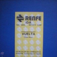 Coleccionismo Billetes de transporte: RENFE , BILLETE HUGIN IDA Y VUELTA. Lote 54623588