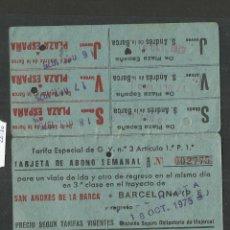 Coleccionismo Billetes de transporte: ABONO FERROCARRILES CATALANES - SAN ANDRES DE LA BARCA A BARCELONA - (V-1872). Lote 47243020