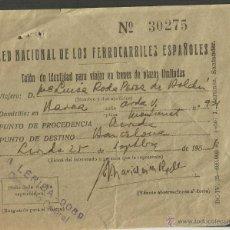Coleccionismo Billetes de transporte: BILLETE DE TRANSPORTE FERROCARRILES - RED NACIONAL FERROCARRILES ESPAÑOLES - (V-1887). Lote 47243190