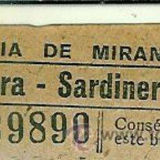 Coleccionismo Billetes de transporte: BILLETE DE LA COMPAÑIA DE TRANVIAS DE MIRANDA. Lote 47653983