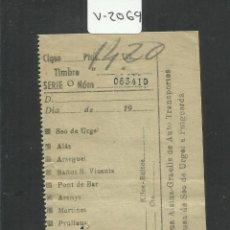 Coleccionismo Billetes de transporte: BILLETE ALSINA GRAELLS AUTO TRANSPORTE - SEO DE URGEL PUIGCERDA- (V-2069). Lote 47656809