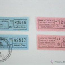 Coleccionismo Billetes de transporte: 4 BILLETES DE TRANSPORTE DE BARCELONA - BADALONA. DOS TIPOS DISTINTOS. Lote 47973067