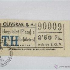 Coleccionismo Billetes de transporte: BILLETE DE TRANSPORTE DE BARCELONA - HOSPITALET A SANTA EULALIA - OLIVERAS SA. Lote 47973113