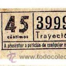 Coleccionismo Billetes de transporte: BILLETE TRANVÍA DE BARCELONA \ 45 CTS \ TRAYECTO 1 \ CAPICUA. Lote 48217254