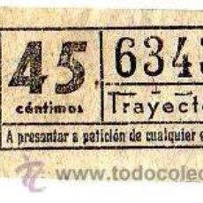 Coleccionismo Billetes de transporte: BILLETE TRANVÍA DE BARCELONA \ 45 CTS \ TRAYECTO 1 \ CAPICUA. Lote 48217266