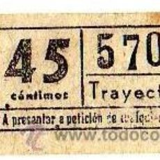 Coleccionismo Billetes de transporte: BILLETE TRANVÍA DE BARCELONA \ 45 CTS \ TRAYECTO 1 \ CAPICUA. Lote 48217278