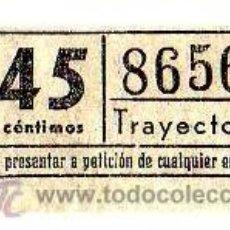 Coleccionismo Billetes de transporte: BILLETE TRANVÍA DE BARCELONA \ 45 CTS \ TRAYECTO 1 \ CAPICUA. Lote 48217284