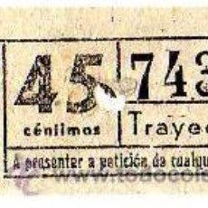 Coleccionismo Billetes de transporte: BILLETE TRANVÍA DE BARCELONA \ 45 CTS \ TRAYECTO 1 \ CAPICUA. Lote 48217311