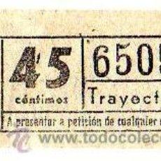 Coleccionismo Billetes de transporte: BILLETE TRANVÍA DE BARCELONA \ 45 CTS \ TRAYECTO 1 \ CAPICUA. Lote 48217326