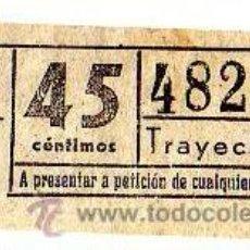 Coleccionismo Billetes de transporte: BILLETE TRANVÍA DE BARCELONA \ 45 CTS \ TRAYECTO 1 \ CAPICUA. Lote 48217771