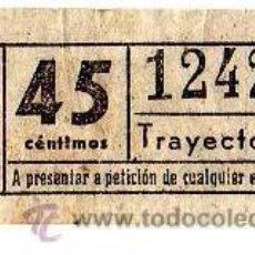 Coleccionismo Billetes de transporte: BILLETE TRANVÍA DE BARCELONA \ 45 CTS \ TRAYECTO 1 \ CAPICUA. Lote 48217777
