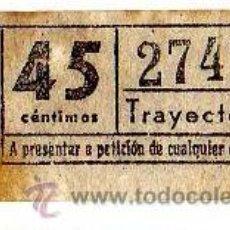 Coleccionismo Billetes de transporte: BILLETE TRANVÍA DE BARCELONA \ 45 CTS \ TRAYECTO 1 \ CAPICUA. Lote 48217781