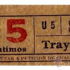 Coleccionismo Billetes de transporte: BILLETE TRANVÍA DE BARCELONA \ 15 CTS \ TRAYECTO 1 \ CAPICUA. Lote 48321844