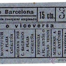 Coleccionismo Billetes de transporte: BILLETE TRANVÍAS DE BARCELONA \ VARIOS TRAYECTOS \ 15 CTS \ CAPICUA. Lote 48352276