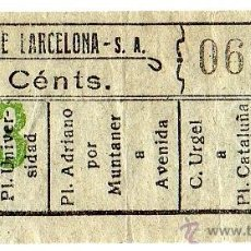 Coleccionismo Billetes de transporte: BILLETE TRANVÍAS DE BARCELONA \ VARIOS TRAYECTOS \ 10 CTS \ CAPICUA. Lote 48352447