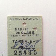 Coleccionismo Billetes de transporte: BILLETE DE TREN \ SEVILLA PLAZA DE ARMAS - MADRID ATOCHA \ ÓMNIBUS DE 2ª CLASE \ RENFE (18-06-1957). Lote 48365680