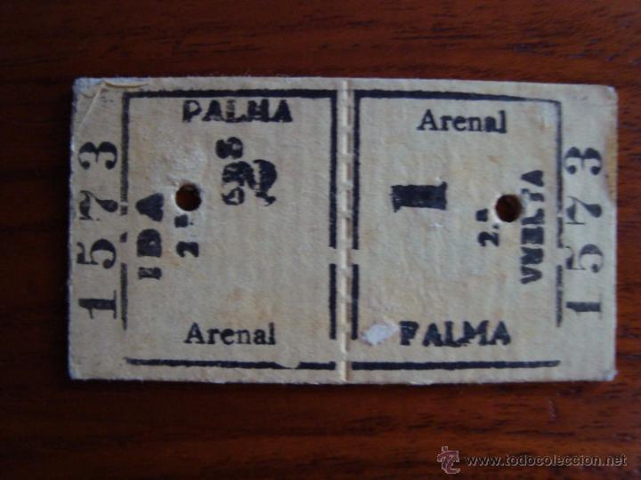 BILLETE TREN PALMA - ARENAL IDA Y VUELTA. OCTUBRE 1938. MALLORCA. (Coleccionismo - Billetes de Transporte)